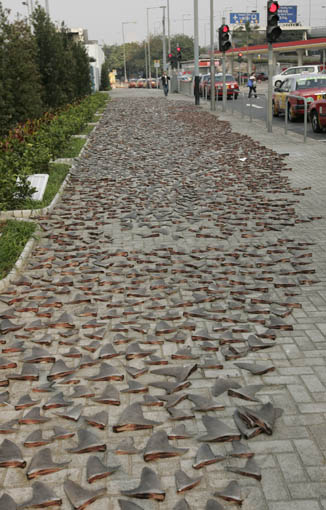 Sidewalk with Shark Fins in Hong Kong